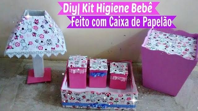 Aparador Preto Para Sala ~ Kit Higiene Beb u00ea Feito com Caixa de Papel u00e3o Por Carla Oliveira u2013 Artes em Geral